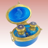 "Antique French Blue Opaline Scent Casket ""TWIN SCENT BOTTLES """