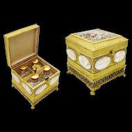 Antique Gilt Bronze Mother of Pearl Scent Casket Hinged Box