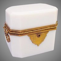Stunning Antique French Double Handle White Opaline Casket Hinged Box