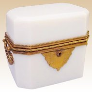 Antique French Double Handle White Opaline Casket Hinged Box