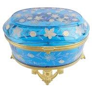 Massive Antique Moser Blue Casket Hinged Box ~ A RARE Casket from My Treasure Vault