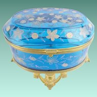 "Antique Moser Blue Casket Hinged Box ""VERY FINE GILDING"""