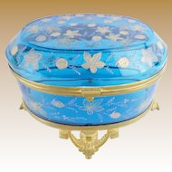 Massive Antique Moser Blue Casket Hinged Box ~ A RARE Casket from My Treasure Vault