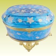 "Antique Moser Blue Casket Hinged Box ""VERY FINE GILDING"""