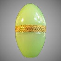 Beautiful Antique Green Opaline Casket Hinged Box ~ A CHARMING SHAPE BOX