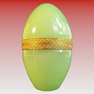 Beautiful Antique Green Opaline Casket Hinged Box