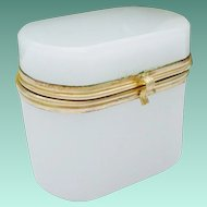 "Antique French White Opaline Oval Hinged Box "" A TINY ONE"""