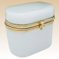 """Antique French White Opaline Oval Hinged Box """" A TINY ONE"""""""