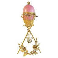 "13"" Antique French PINK Opaline Egg w Porcelain Pastoral Plaque  ""AWESOME ORMOLU"""