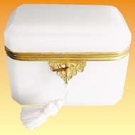 """Antique French Dome Top White Opaline Casket Hinged Box """"BEAUTIFUL"""""""