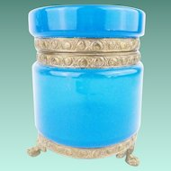 """Antique French Blue Opaline Casket Hinged Box 'RARE MOUNTS &PAW FEET"""""""