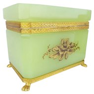 Antique Green Opaline Casket Hinged Box  ~ MAGNIFICENT  Gilding