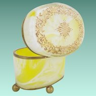 Antique Bohemian Lemon Swirl Casket Hinged Box