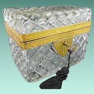 "Antique French Cut Crystal  Casket Hinged Box ""BIG RECTANGULAR"""