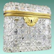 "Antique Baccarat Cut Crystal Casket Hinged Box ""BEAUTIFUL"""