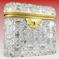 "Antique Baccarat Cut Crystal Casket Hinged Box ""BEAUTIFUL"""