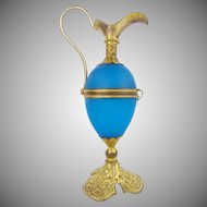 "Palais Royal  Blue Egg Shaped Hinged Box ""EWER SHAPE"""