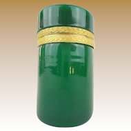 """Antique French  Opaline Tall Hinged Box """"EMERALD GREEN"""""""