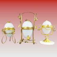 """A Palais Royal Opaline Egg Casket Hinged Box Collection """" GROUP OF THREE"""""""