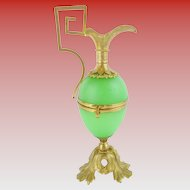 "Palais Royal Green Egg Shaped Hinged Box ""EWER SHAPE""  RARE Green Opaline"