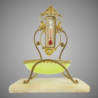 "Palais Royal Thermometer Stand  "" w Lime GREEN Opaline Trinket Dish"""