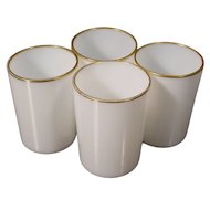 Antique French White Opaline Wine Cups ~ A Touch of Gilding at the Rim