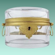 Antique French Double Handles Crystal Casket Hinged Box