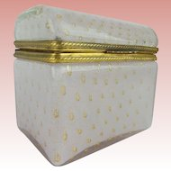 """Vintage Murano Dome Top Case Glass Casket Hinged Box  """"LUSCIOUS PINK & DUSTED WITH GOLD"""""""