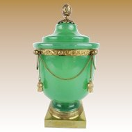 """10 ½"""" Antique French Green Opaline Covered Cachepot """" Dripping  IN GILT CHAINS  &  TASSELS"""""""