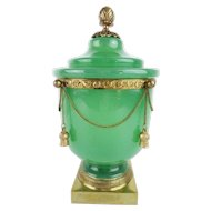 """10 ½"""" Antique French Green Opaline Covered Cachepot """" DRIPPING IN GILT CHAINS & TASSELS"""" GRANDEST"""