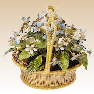 Delightful Jane Hutcheson Brass Basket of Blue Forget Me Not's