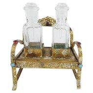 "Antique Austrian Jeweled ""SETTEE"" Enamel Perfume Set  'TWIN PERFUMES"""