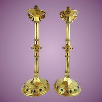 "22"" Antique Swiss Jeweled Brass Candle Holders "" FRAEFEL & CO.  St. GALL  SWITZERLAND"""