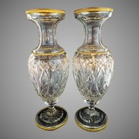 "PAIR  12 ½""  Antique French Crystal Dore Bronze Mounts Vases ""REGAL & VERY FINE"""