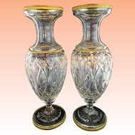 """PAIR  12 ½""""  Antique French Crystal Dore Bronze Mounts Vases """"REGAL & VERY FINE"""""""