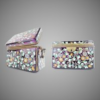 1860 Amethyst Moser Double Handle Casket ~  Gorgeous Heavy Hand Enamel Flowers, Vines , and Leaves