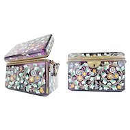 1880  Amethyst Moser Double Handle Casket ~ Gorgeous Heavy Hand Enamel Flowers, Vines , and Leaves