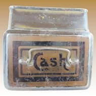 """Antique English Miniature """"CASH"""" Box with a Handle"""