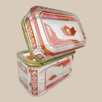 19C Bohemian Red Cut to Clear Spa Hinged Box  ~ A Rare  Tiny Treasure
