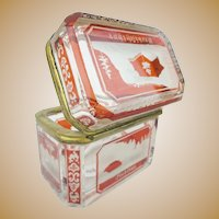 """Rare Antique Bohemian Red Cut to Clear Spa Hinged Box ' RARE & TINY"""""""