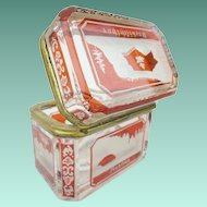 Rare Antique Bohemian Red Cut to Clear Spa Hinged Box ' RARE & TINY""