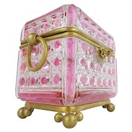 "Antique Baccarat Pink Cut to Clear Casket Hinged Box ""RARE & THE GRANDEST"""