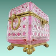 """Antique Baccarat Pink Cut to Clear Casket Hinged Box """"RARE & THE GRANDEST"""""""