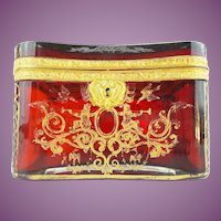 "Antique Bohemian RUBY Casket Hinged Box  ""RARE""  Magnificent Deep Rich Color"