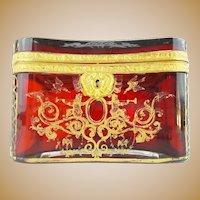 "Antique Bohemian RUBY Casket Hinged Box  ""RARE""  Magnificent Deep Rich Color"