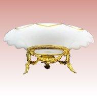 """12 ½"""" Antique French White Opaline Center Bowl """"GRANDEST GILT ORMOLU"""""""