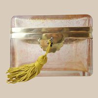"""French Pink Crystal Casket Hinged Box  """"SPRINKLED WITH GOLD"""""""