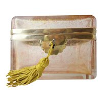 "French Pink Crystal Casket Hinged Box  ""SPRINKLED WITH GOLD"""