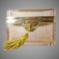 "Magnificent Antique French Pink Crystal Casket Hinged Box ""SPRINKLED WITH GOLD"""