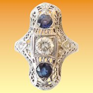 18KARAT Art Deco White Gold Filigree Diamond and Sapphire Ring